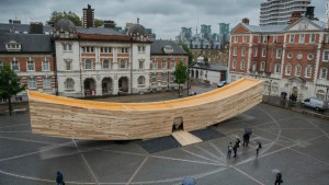 "Made of cross-laminated tulipwood, ""The Smile,"" an installation at last fall's London Design Festival, was a collaboration between the American Hardwood Export Council, Alison Brooks Architects, and Arup. Photograph courtesy Alison Brooks Architects"