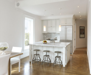 White-oak herringbone floors in a 1900s Brooklyn townhouse renovated by Horrigan O'Malley Architects