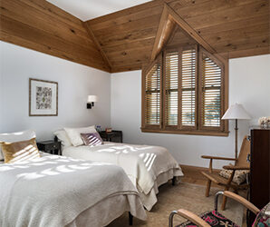 Hardwood Floorboards Take to the Ceiling